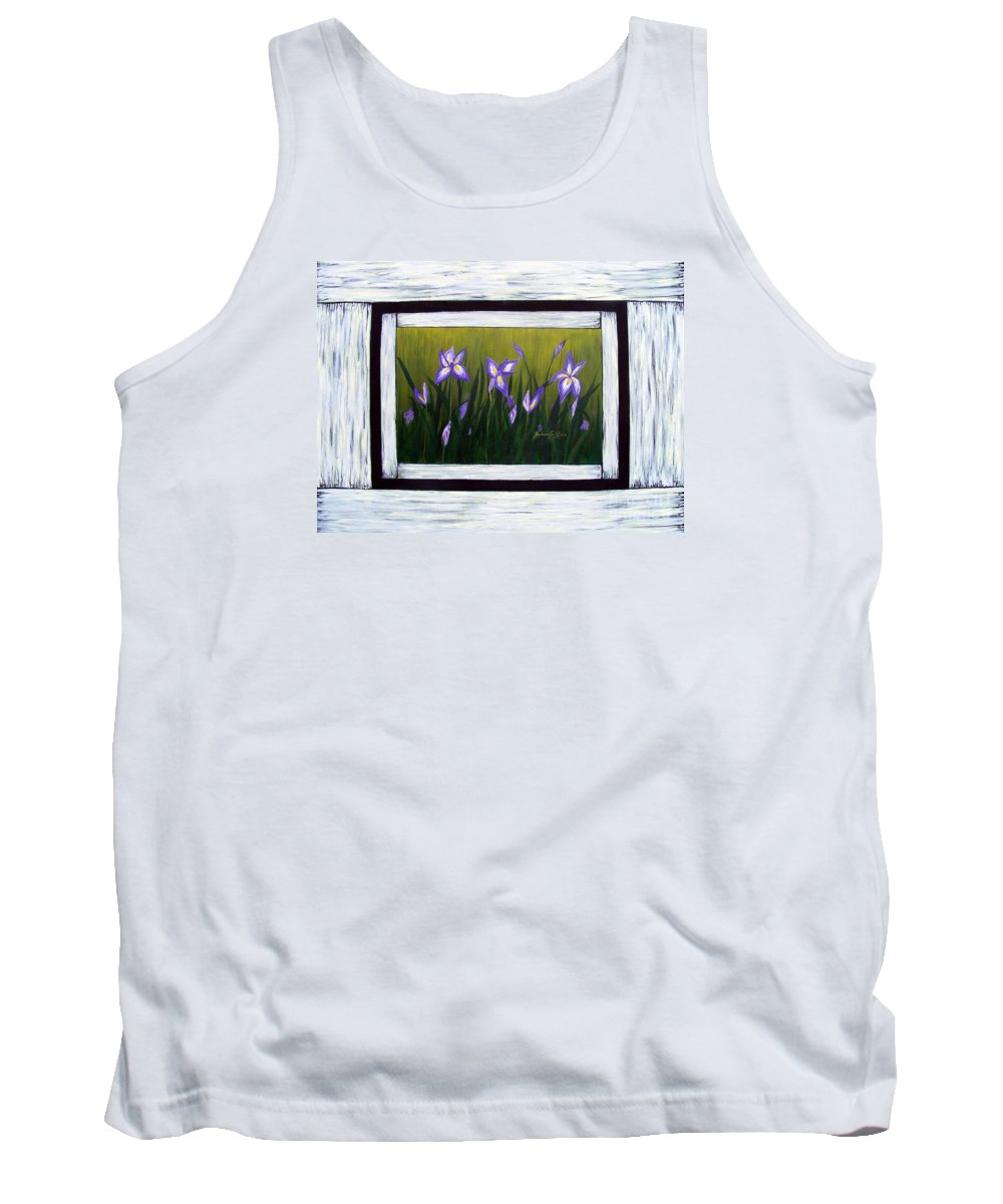 Barbara Griffin Tank Top featuring the painting Irises And Old Boards - Weathered Wood by Barbara Griffin