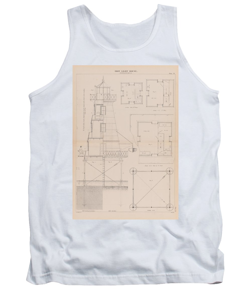 Iron Lighthouse Tank Top featuring the drawing Iron Lighthouse by Jerry McElroy