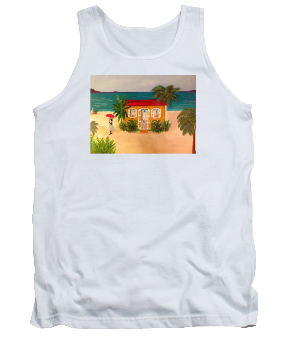 An Island Woman Shaded By Her Red Umbrella Tank Top featuring the painting Island Life by Karen Pasquariello