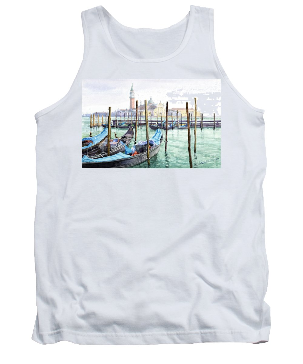 Watercolor Tank Top featuring the painting Italy Venice Gondolas Parked by Yuriy Shevchuk