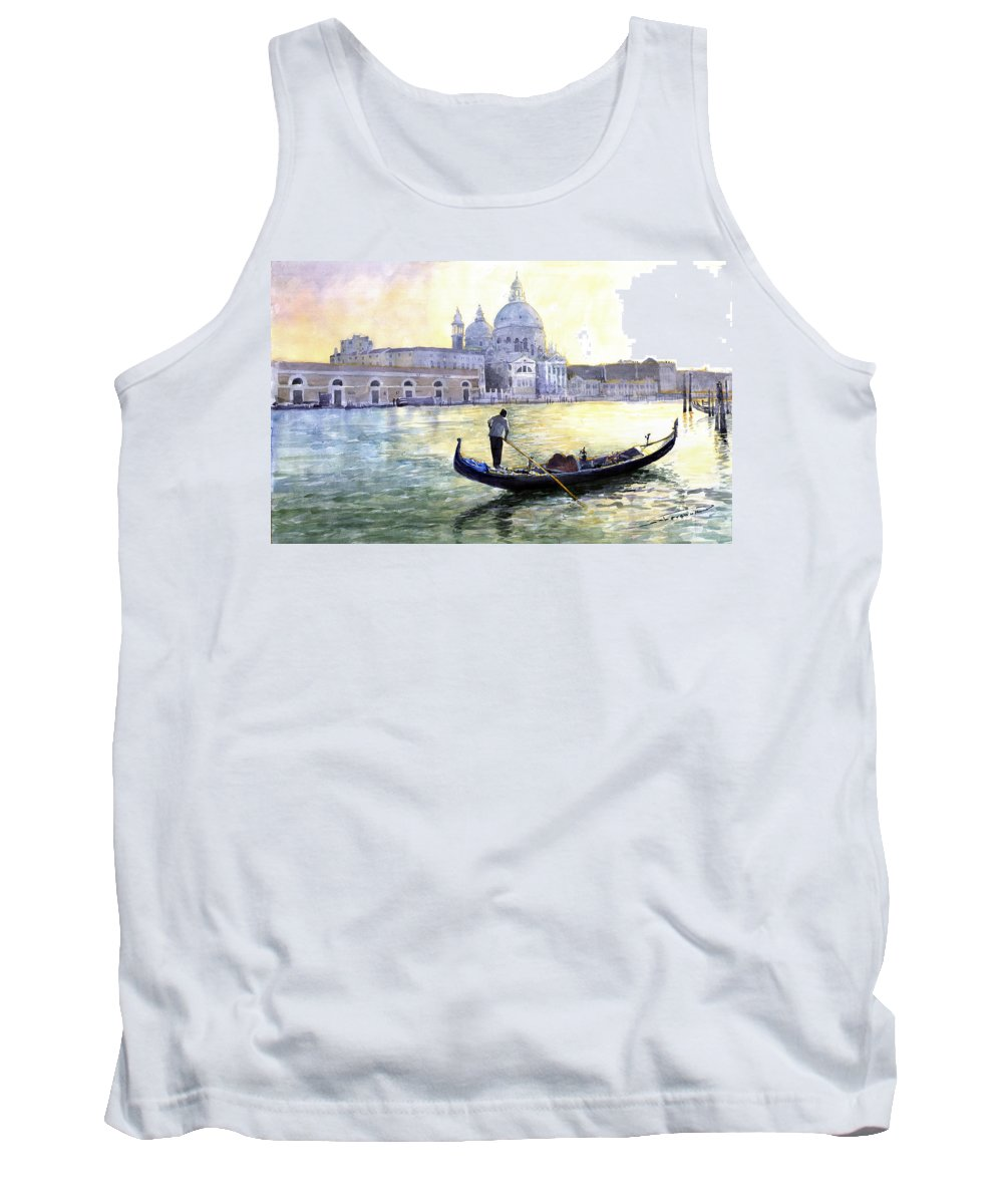 Watercolor Tank Top featuring the painting Italy Venice Morning by Yuriy Shevchuk