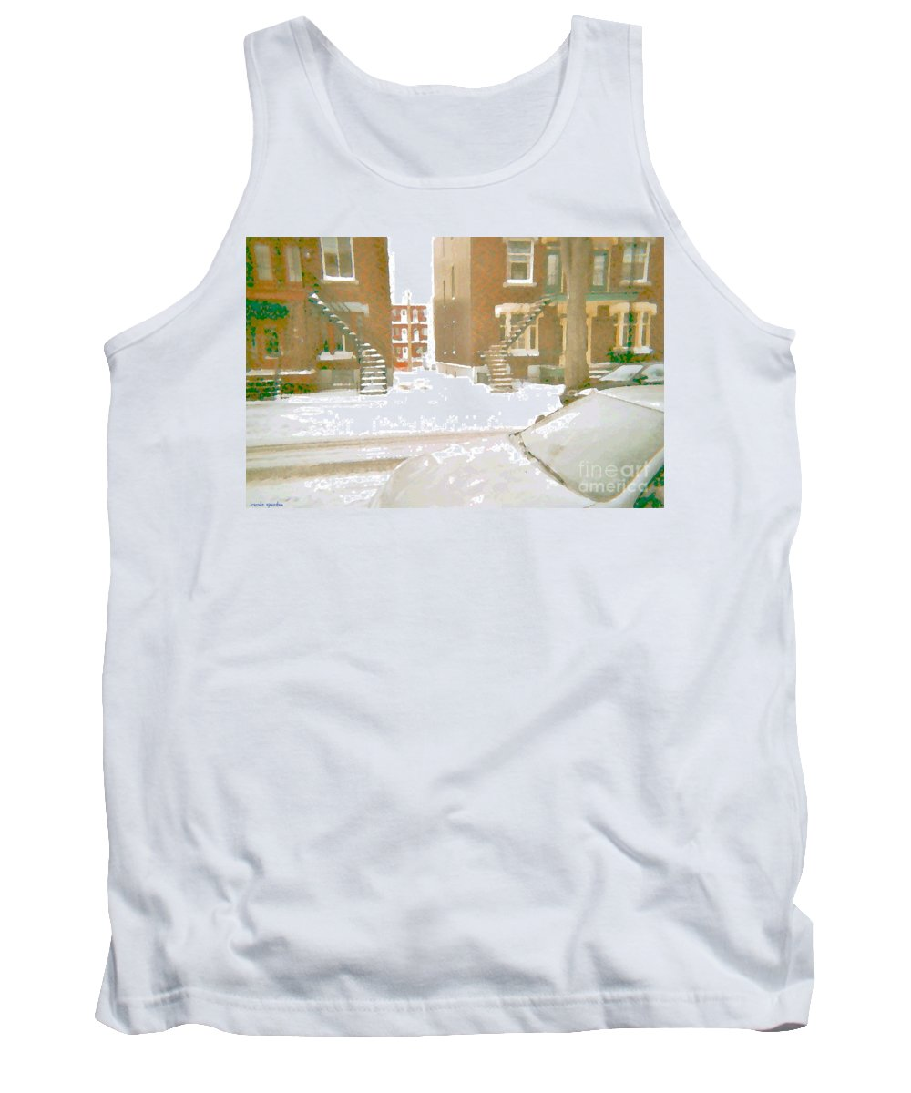 Montreal Tank Top featuring the painting January Winter Street Winding Snow Covered Staircase Montreal Art Verdun Duplex Painting Cspandau by Carole Spandau