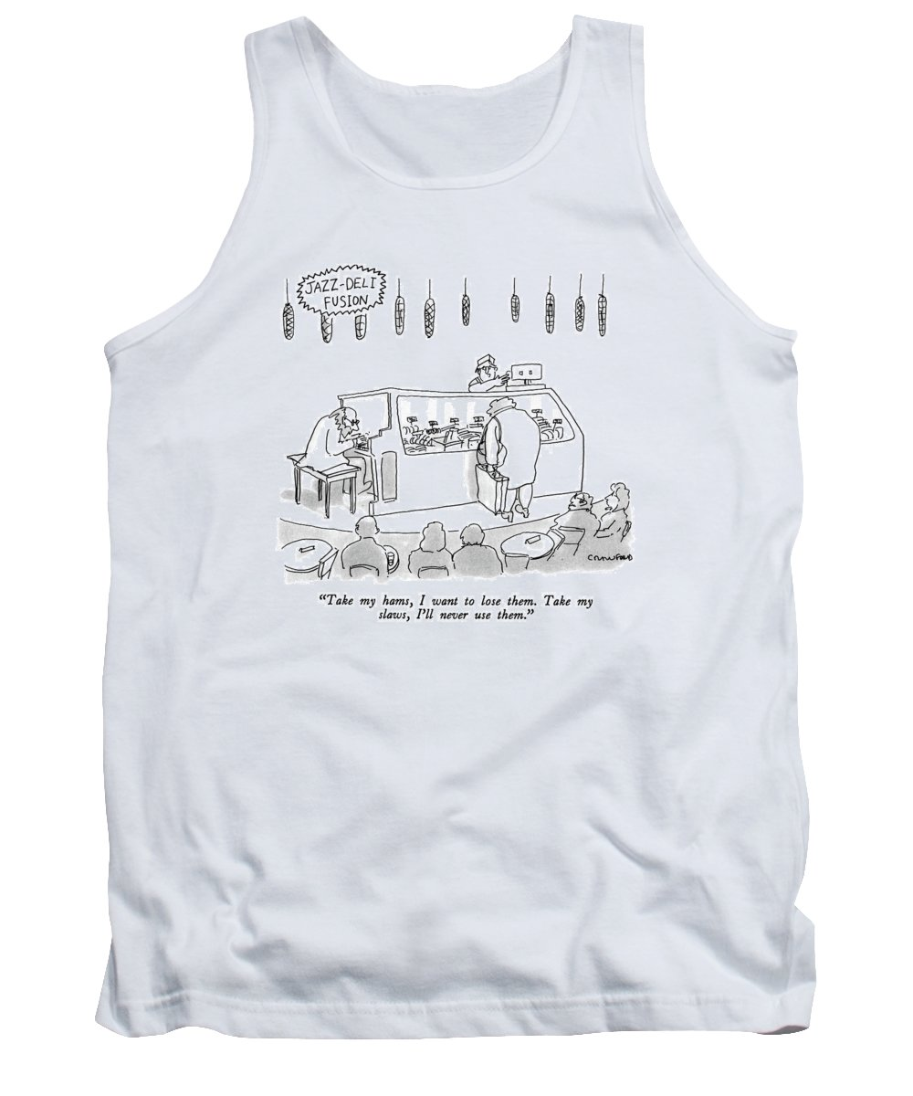 Pianist Tank Top featuring the drawing Jazz-deli Fusion Take My Hams by Michael Crawford