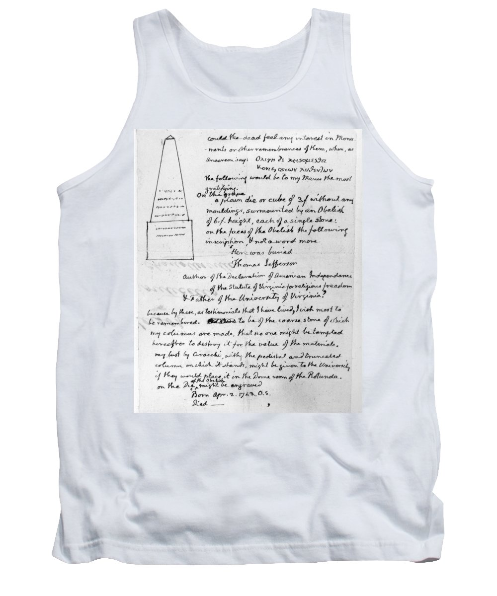 19th Century Tank Top featuring the photograph Jefferson: Tombstone by Granger