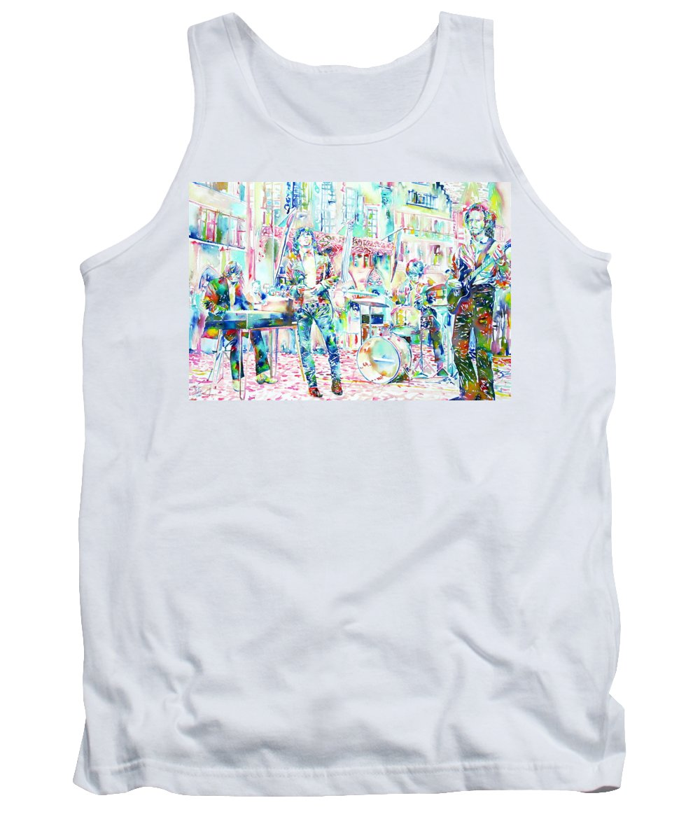 Doors Tank Top featuring the painting Jim Morrison And The Doors Live Concert In The Street by Fabrizio Cassetta