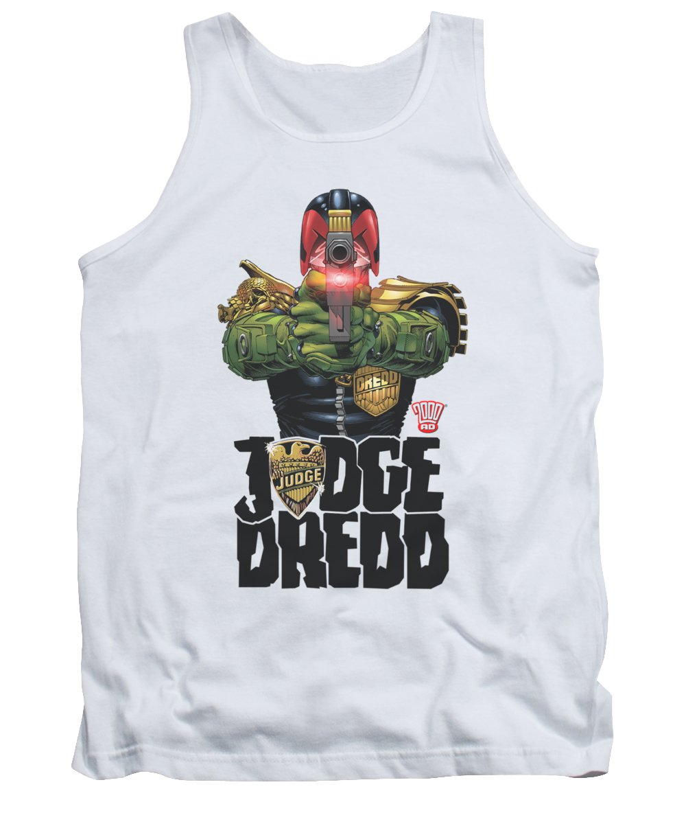 Judge Dredd Tank Top featuring the digital art Judge Dredd - In My Sights by Brand A