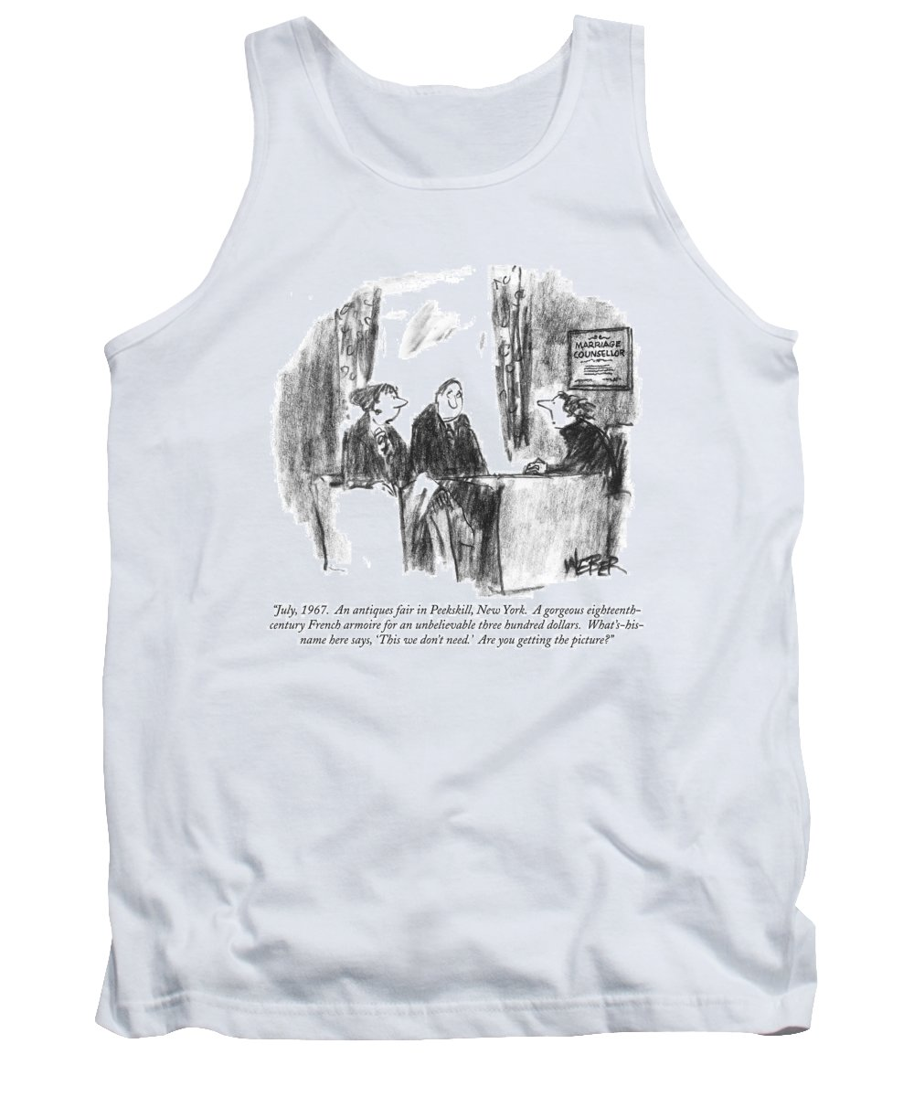 Antiques - General Tank Top featuring the drawing July, 1967. An Antiques Fair In Peekskill, New by Robert Weber