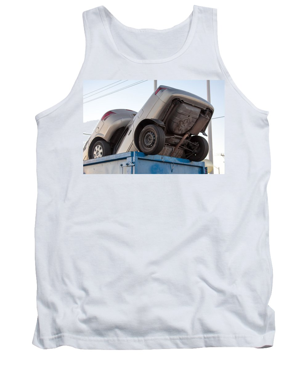 Aluminum Tank Top featuring the photograph Junk Cars In Dumpster Cash For Clunkers by Gunter Nezhoda