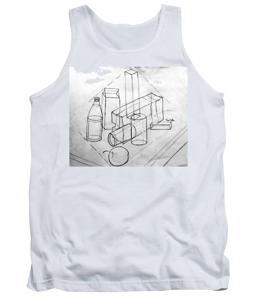 Pencil Tank Top featuring the drawing Just For Practice by Tami Dalton