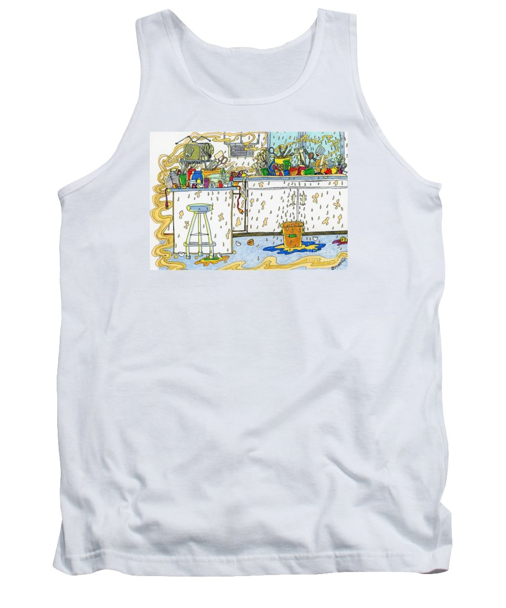 Kitchens Tank Top featuring the painting Kitchen Catastrophe by Maggie Pringle