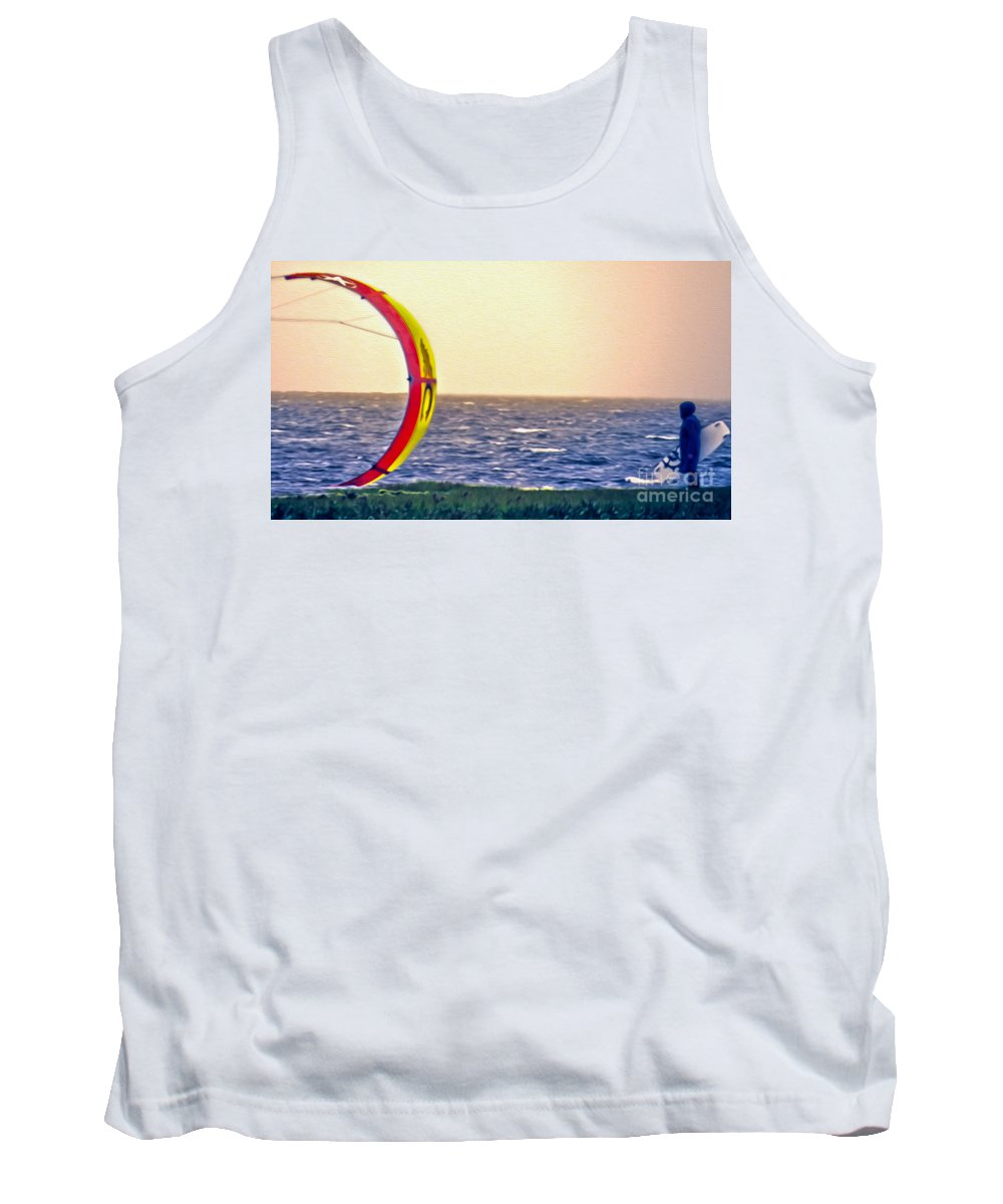 Vacation Tank Top featuring the photograph Kite Boarder 2 by Dawn Gari