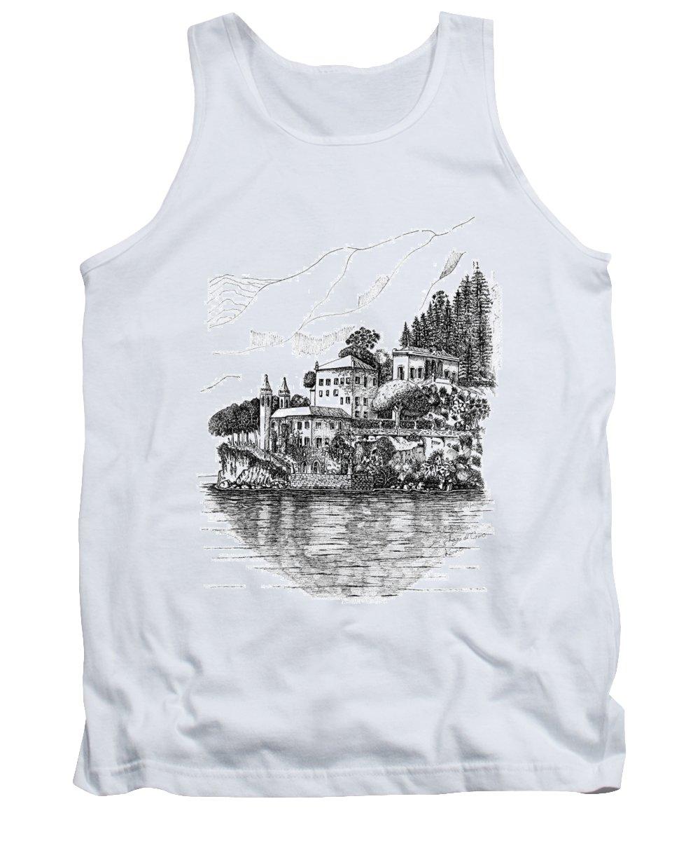 Tank Top featuring the drawing Lago Di Como-lenno - Vila Del Bilbianello by Franko Brkac