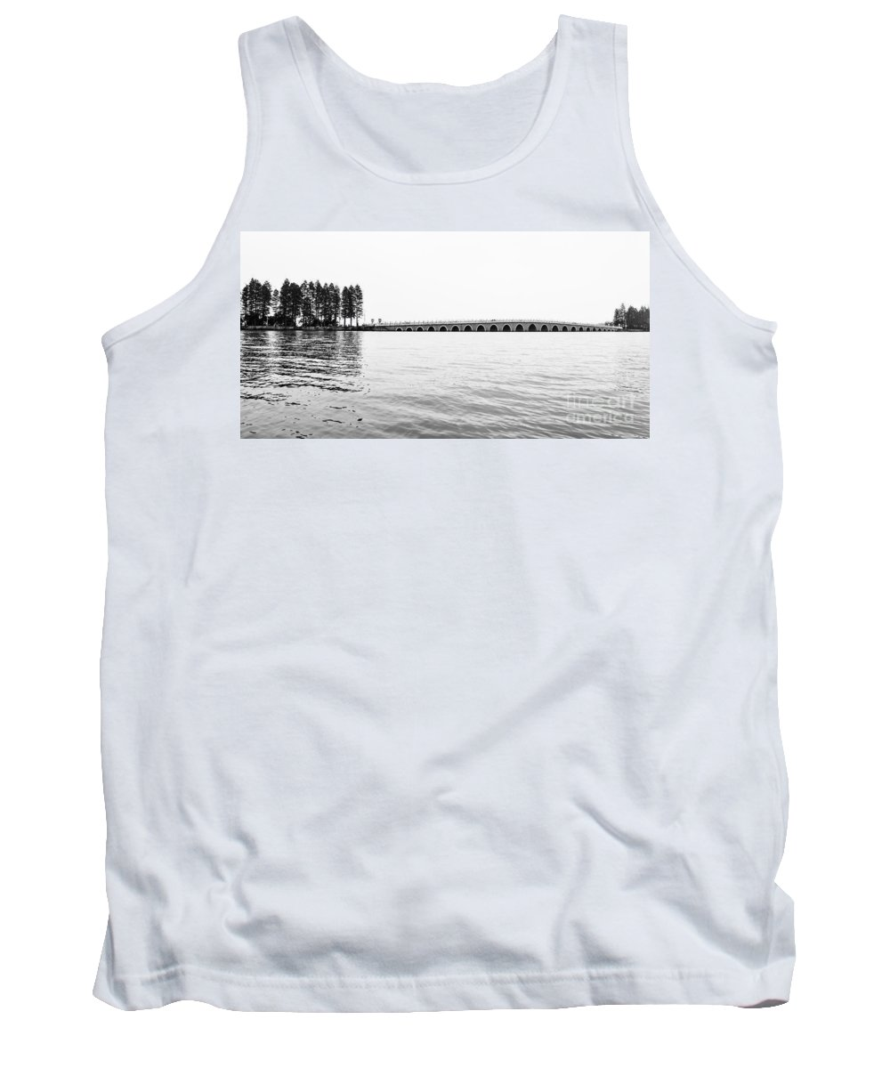 China Tank Top featuring the photograph Lake Bridge Mono by Matt Malloy