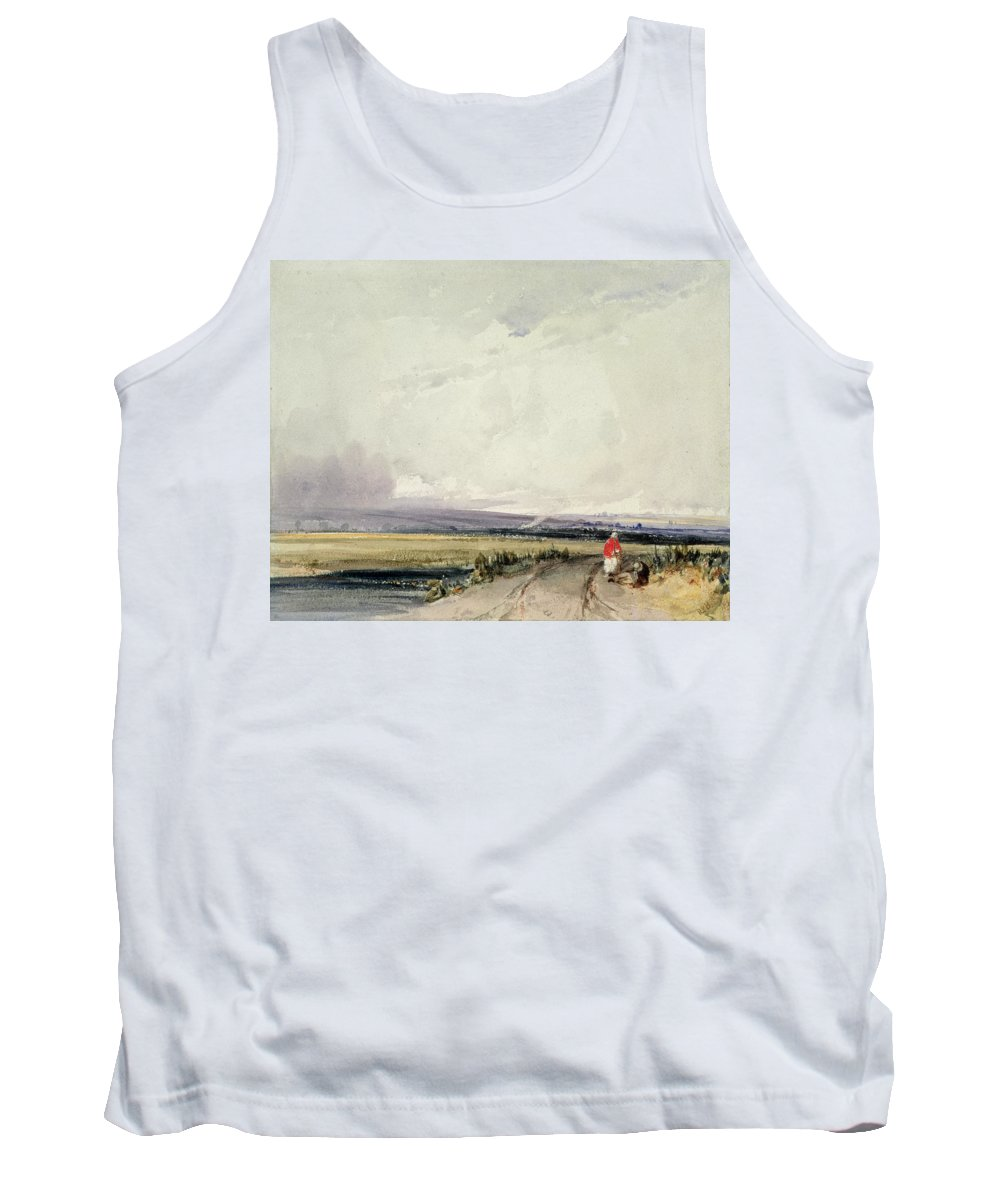 Track Tank Top featuring the drawing Landscape In Normandy, Traditionally by Richard Parkes Bonington