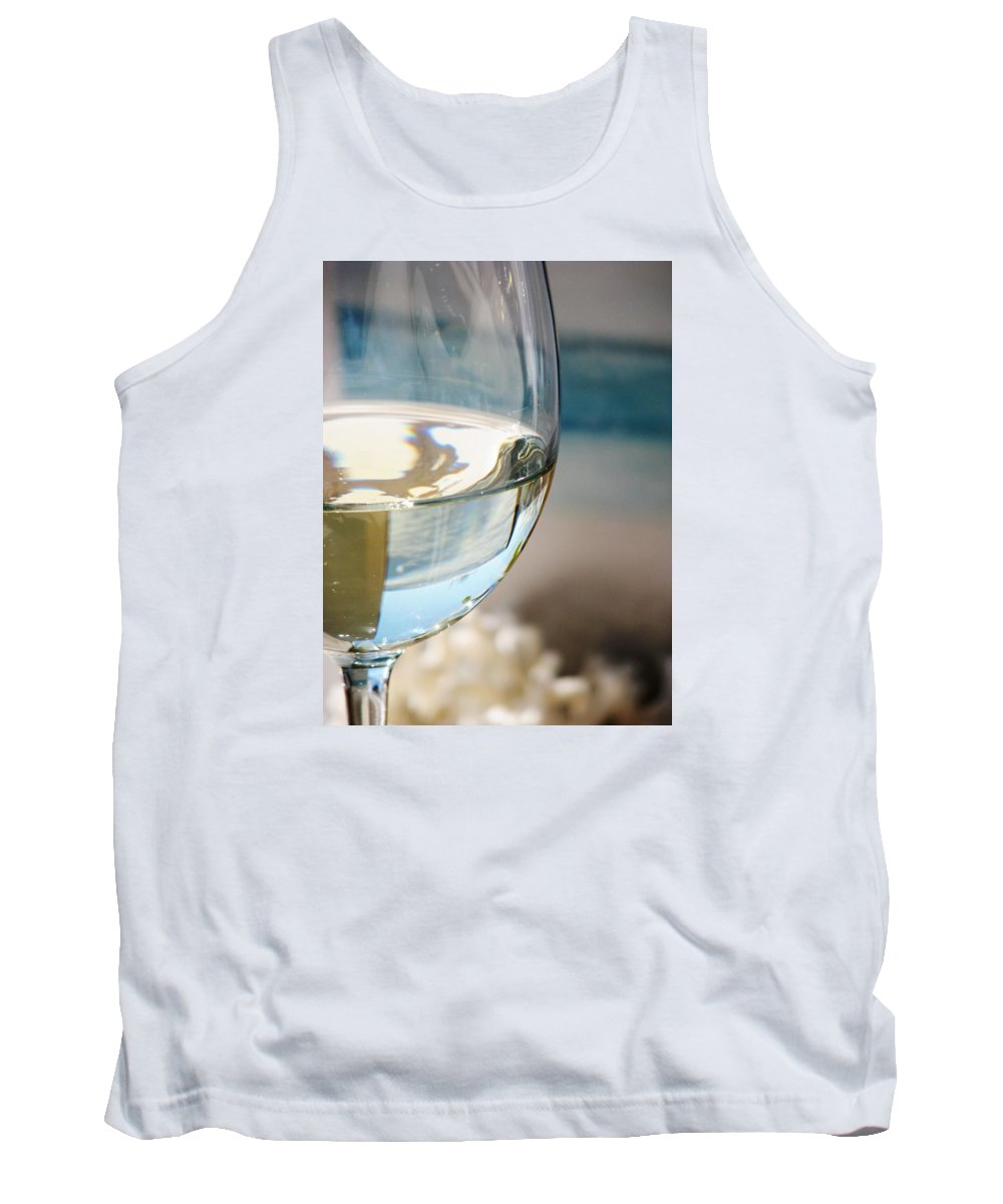 White Wine Tank Top featuring the photograph Last Sip At The Beach by Angela Davies