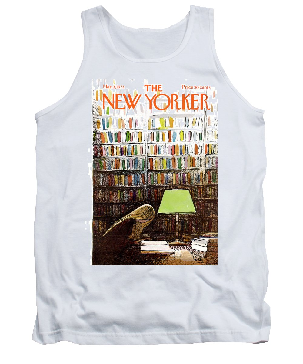 Library Tank Top featuring the painting Late Night At The Library by Arthur Getz