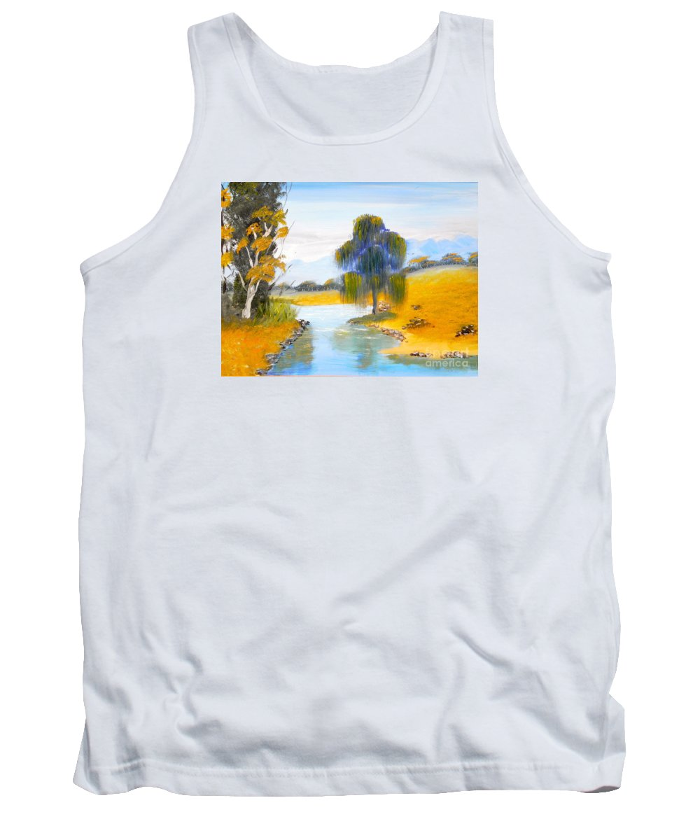 Impressionism Tank Top featuring the painting Lawson River by Pamela Meredith