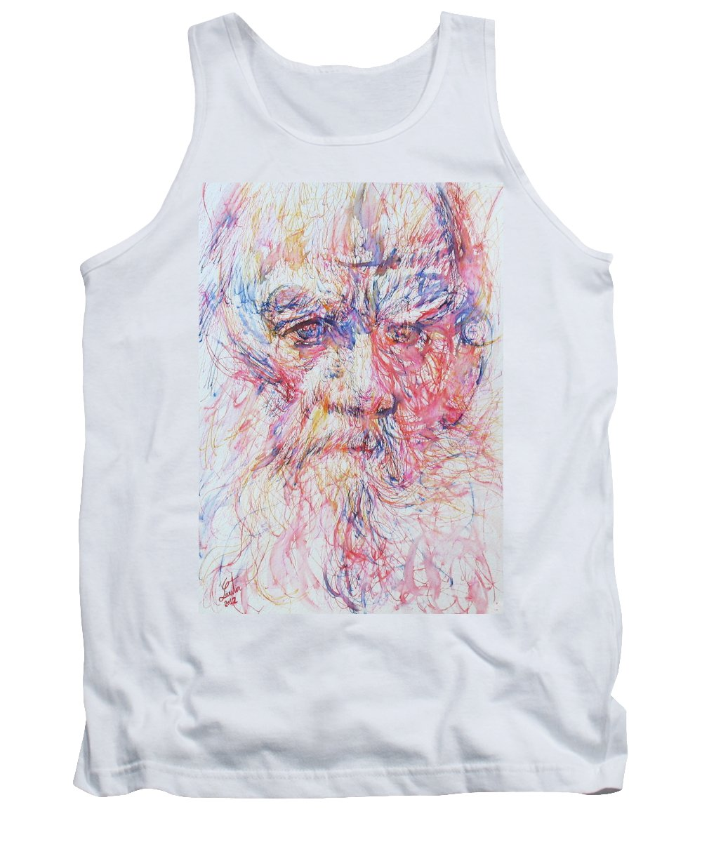 Leo Tank Top featuring the painting Leo Tolstoy/ Colored Pens Portrait by Fabrizio Cassetta