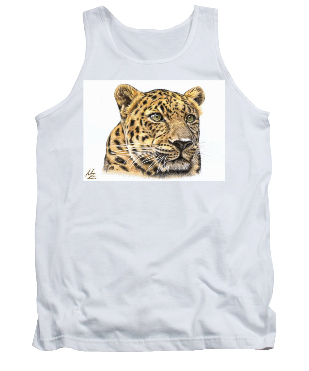 Leopard Tank Top featuring the drawing Leopard by Nicole Zeug