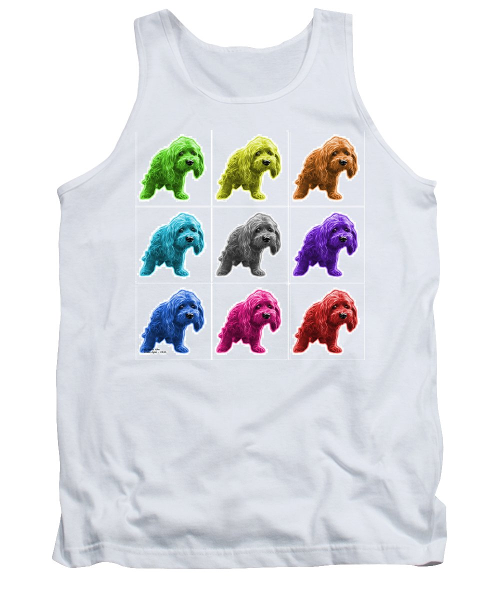Lhasa Apso Tank Top featuring the painting Lhasa Apso Pop Art - 5331 - Wb- M by James Ahn