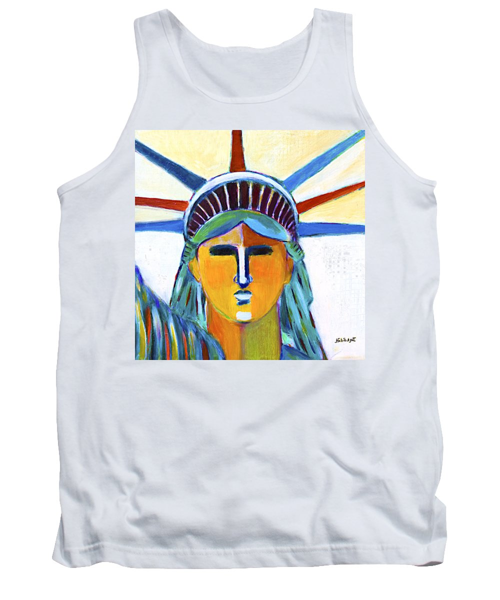 Nyc Tank Top featuring the painting Liberty In Colors by Habib Ayat