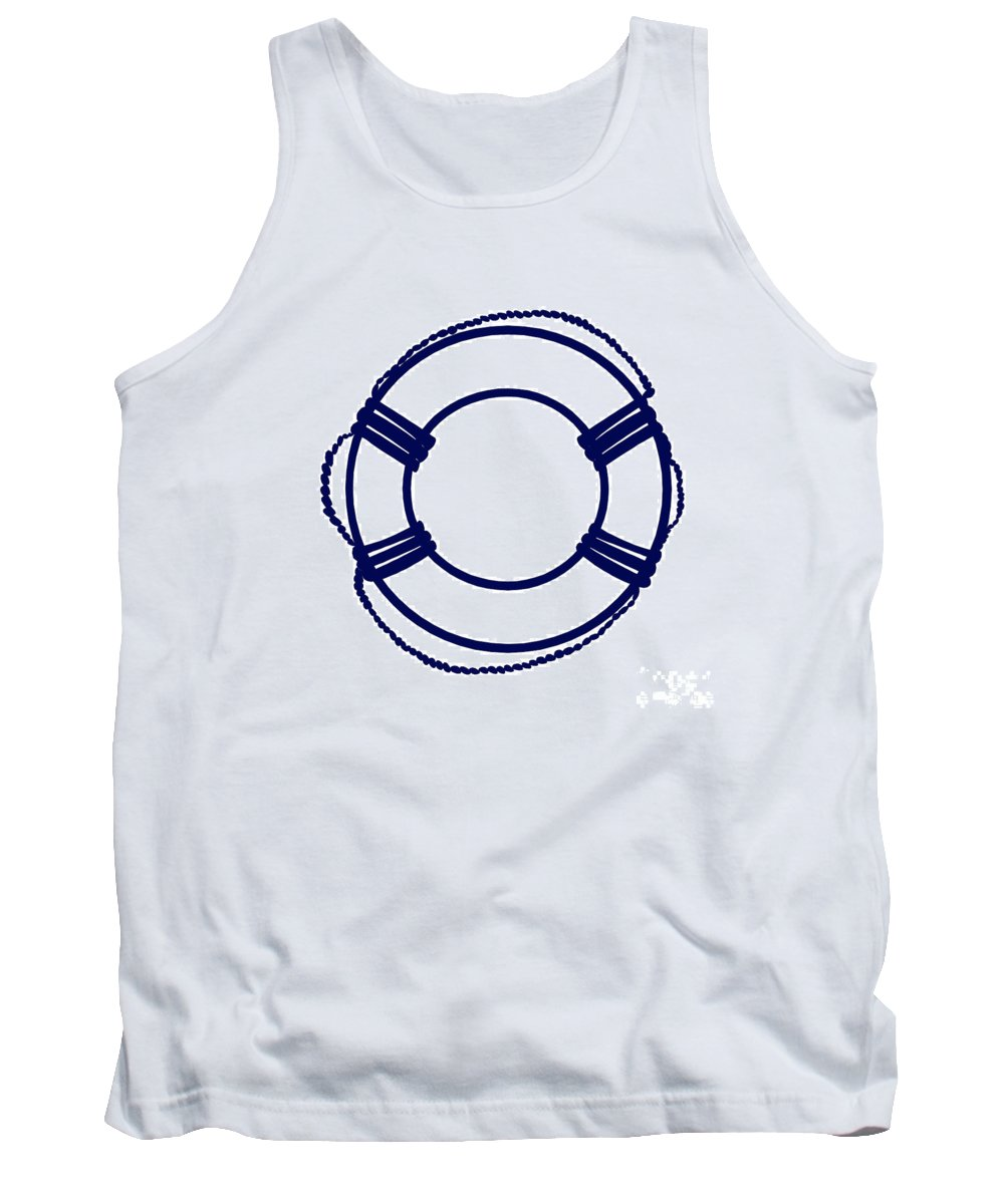 Graphic Art Tank Top featuring the digital art Life Preserver In Navy Blue And White by Jackie Farnsworth