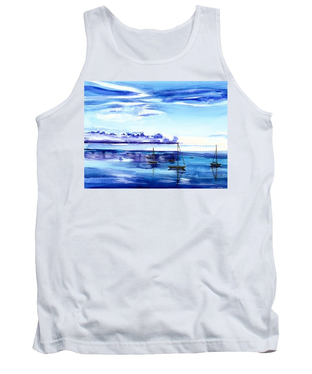 Nature Tank Top featuring the painting Light N Water by Anil Nene