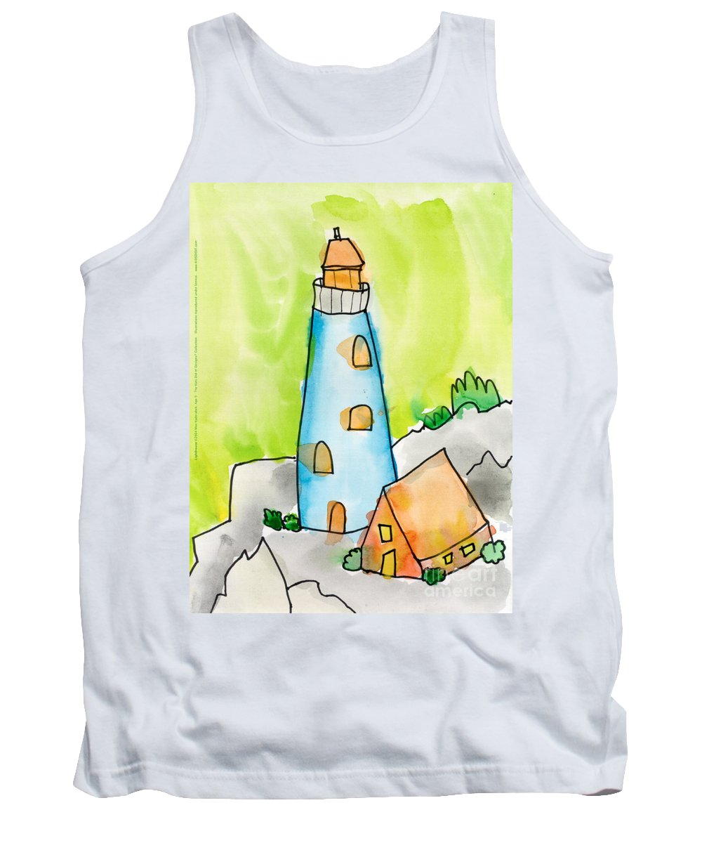 Lighthouse Tank Top featuring the painting Lighthouse by Max Kederabek Age Nine