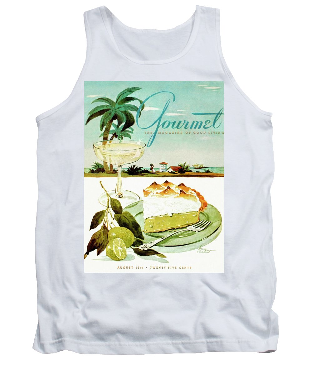 Food Tank Top featuring the photograph Lime Meringue Pie With Champagne by Henry Stahlhut