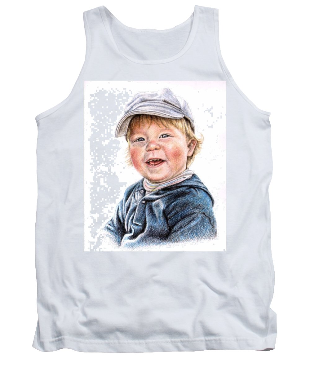 Boy Tank Top featuring the drawing Little Boy by Nicole Zeug
