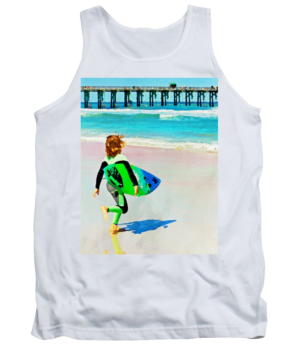 Surfer Boy Beach Ocean Flagler Beach Florida Surfboard Alicegipsonphotographs Tank Top featuring the photograph Little Surfer Dude by Alice Gipson