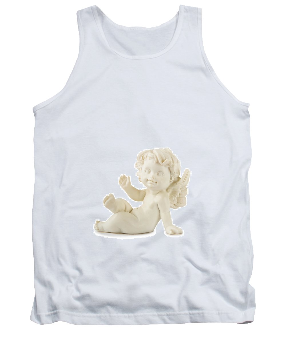 Christmas Tank Top featuring the photograph Little White Angel Statue by Alain De Maximy