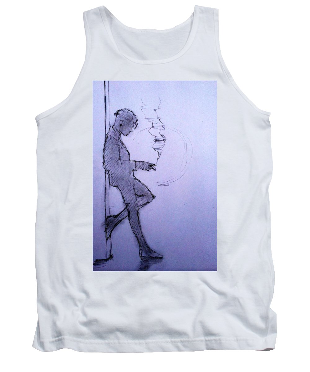 Androgyny Tank Top featuring the drawing Liz Waiting by H James Hoff