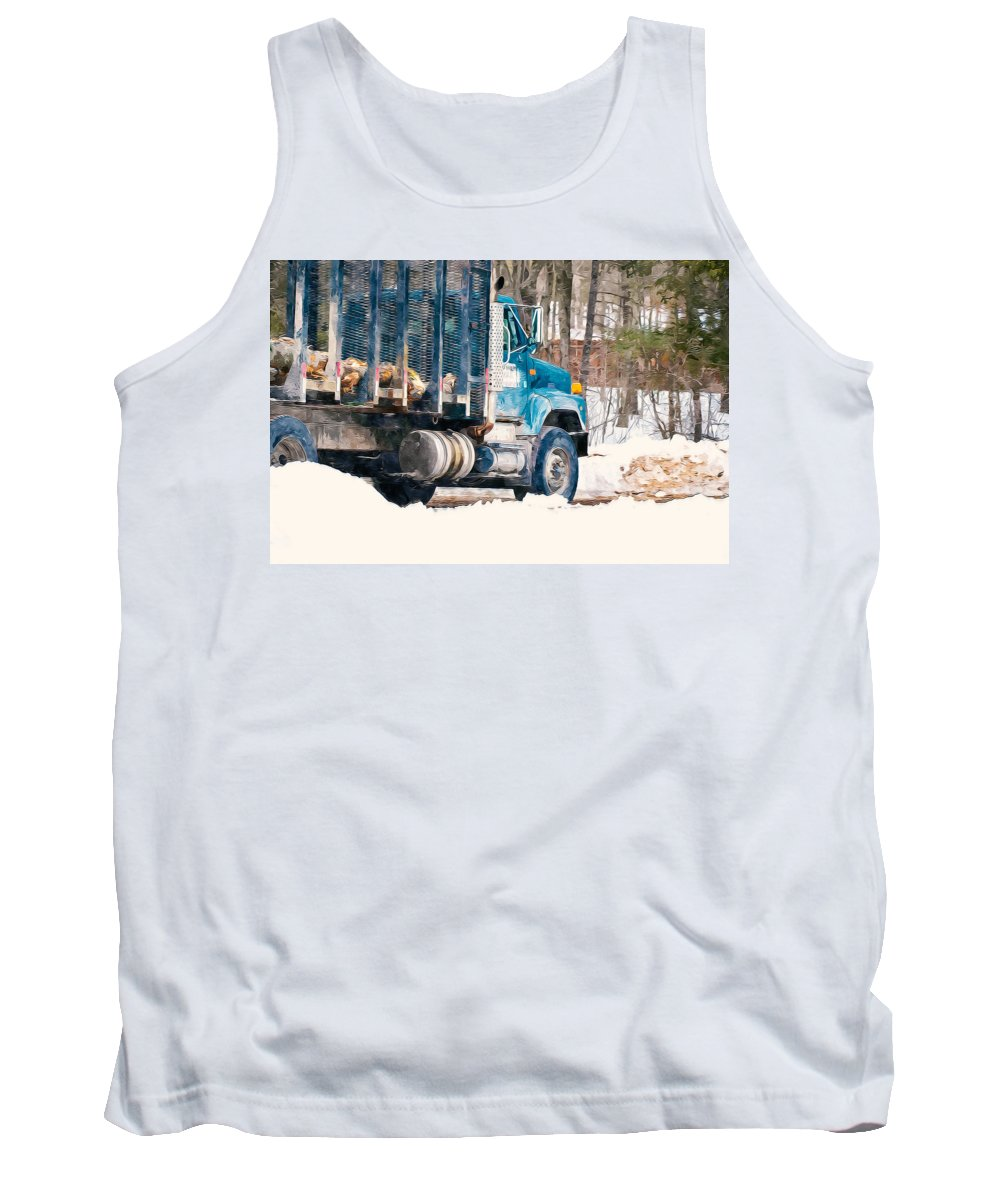 Autumn Tank Top featuring the painting Loading Of Logs by Jeelan Clark