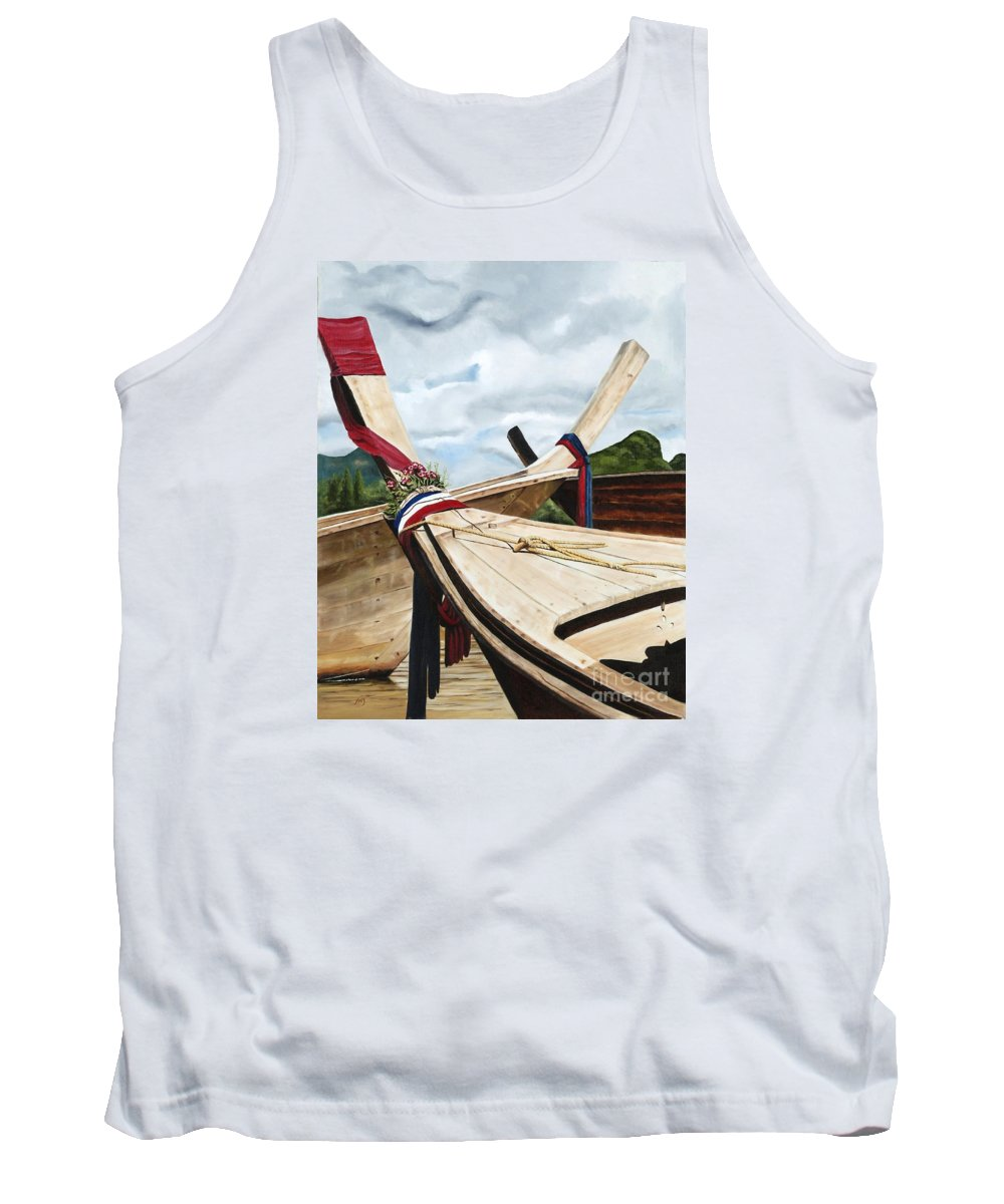 Art Tank Top featuring the painting Long Tail Boats Of Krabi by Mary Rogers