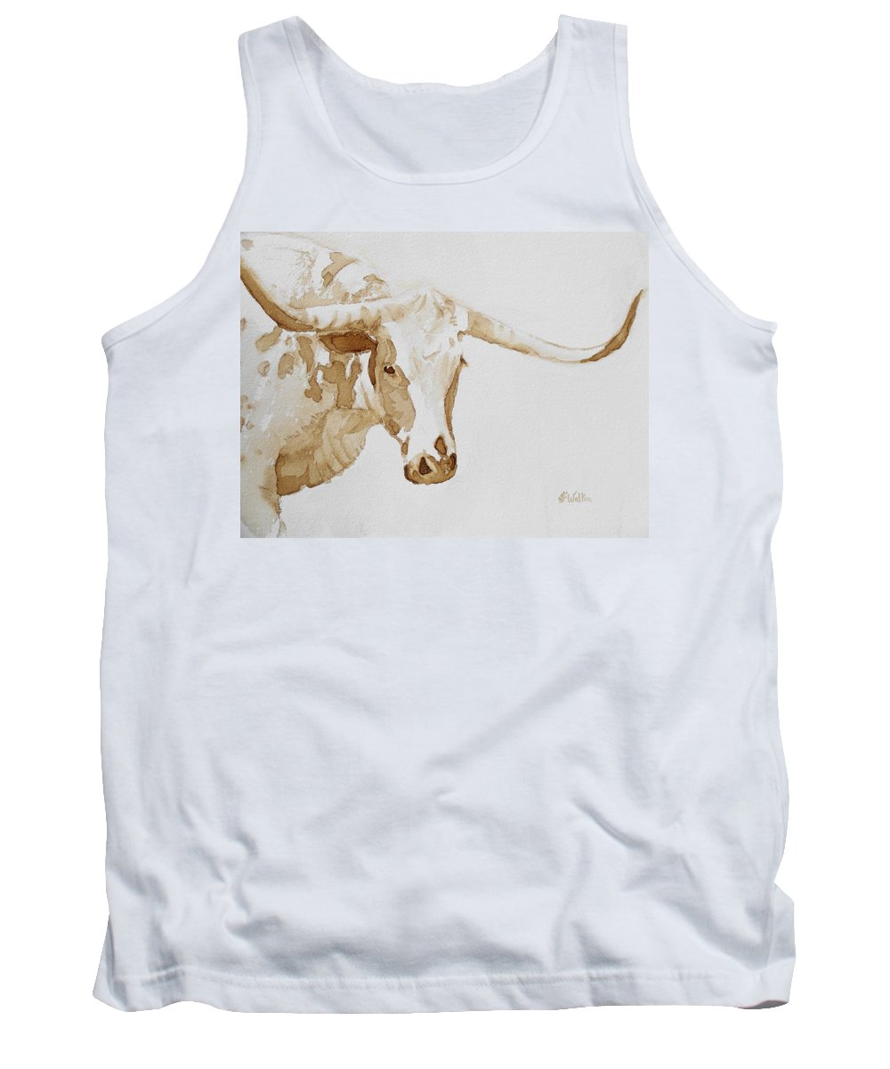 Coffee Tank Top featuring the painting Longhorn by Judy Fischer Walton