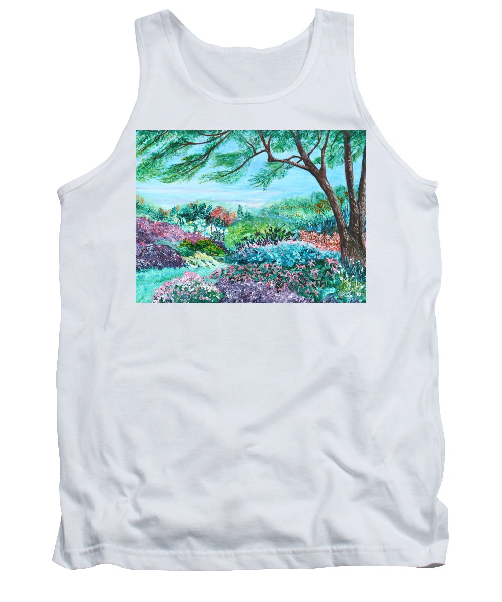 Longwood Tank Top featuring the painting Longwood Gardens by Aine Khell