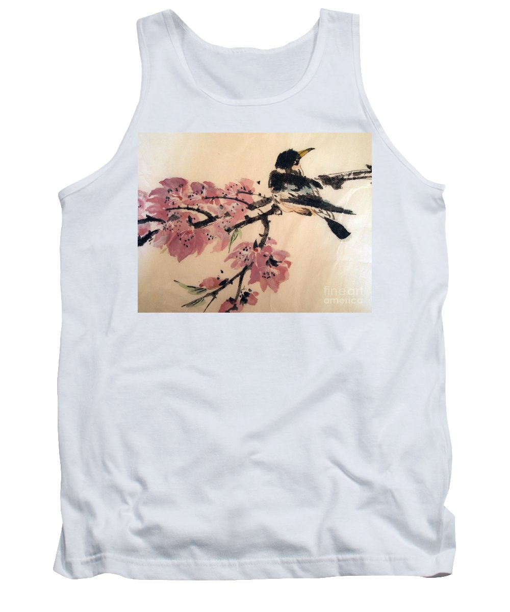 Chinese Brush Painting Tank Top featuring the painting Looking Pretty by Nancy Kane Chapman