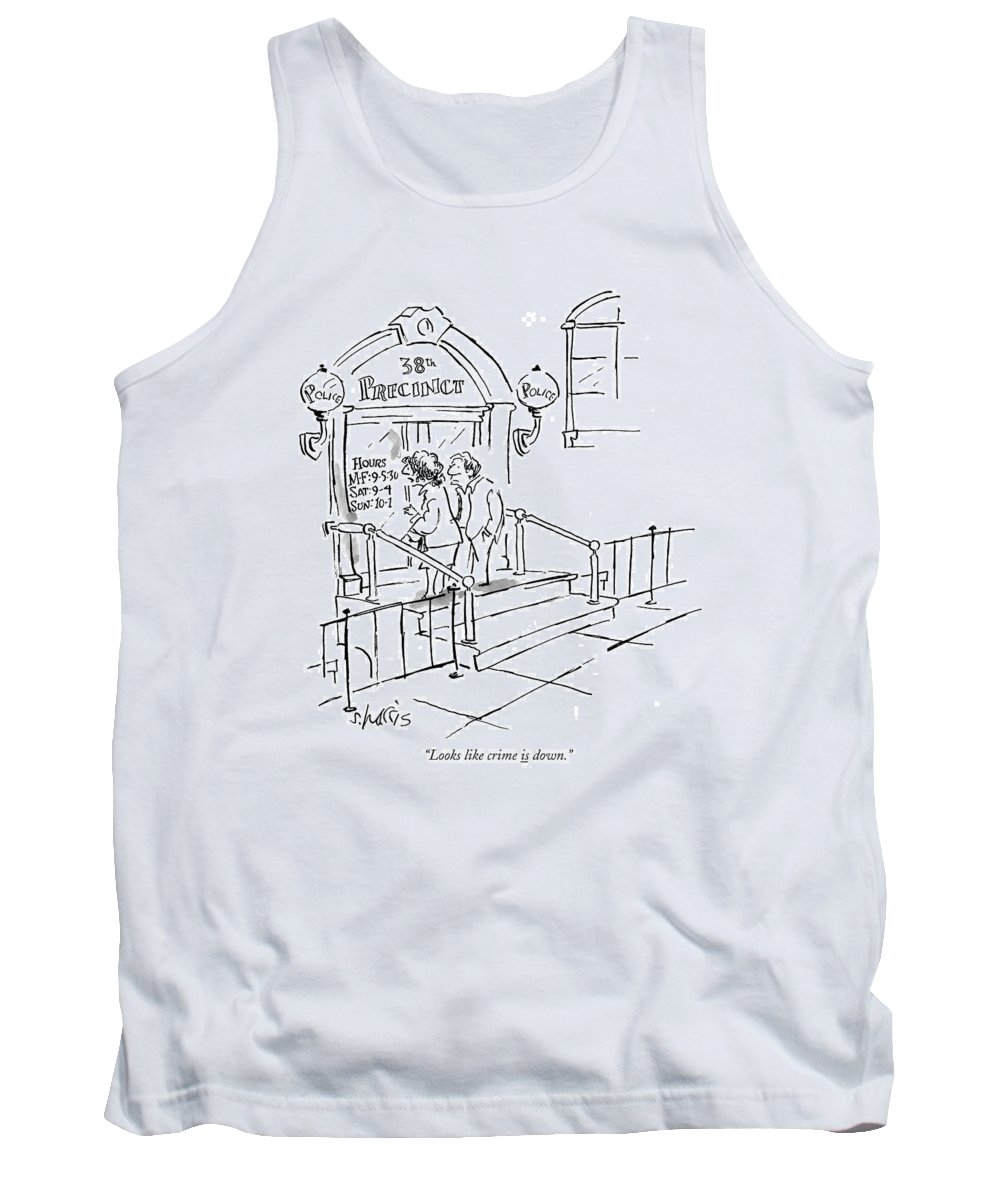 Police Tank Top featuring the drawing Looks Like Crime Is Down by Sidney Harris