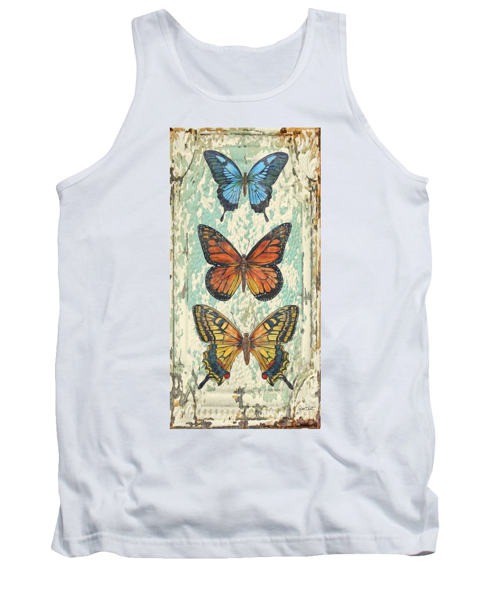 Acrylic Painting Tank Top featuring the painting Lovely Butterfly Trio On Tin Tile by Jean Plout