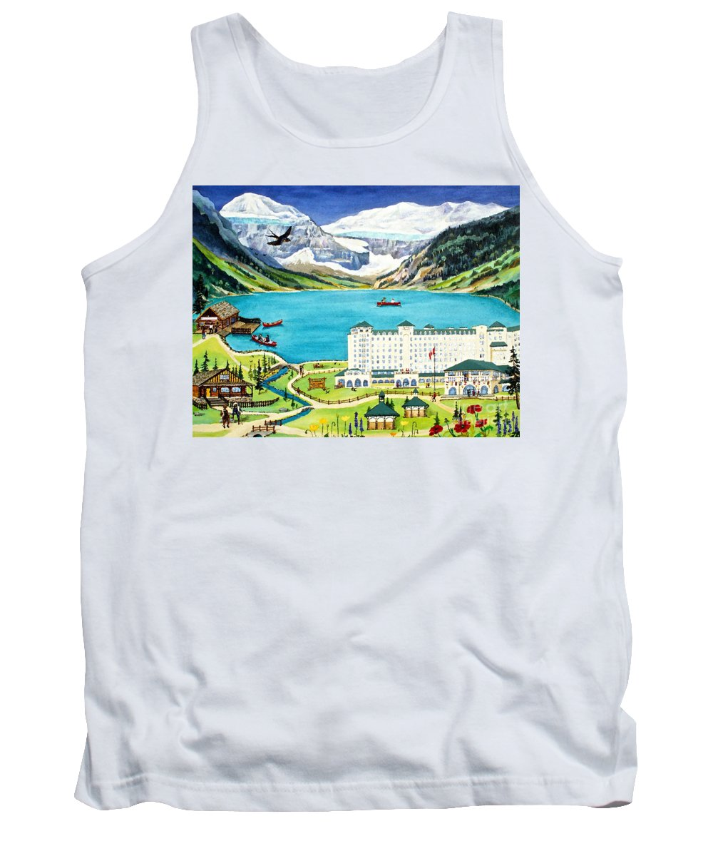 Lake Louise Tank Top featuring the painting Lovely Lake Louise by Virginia Ann Hemingson