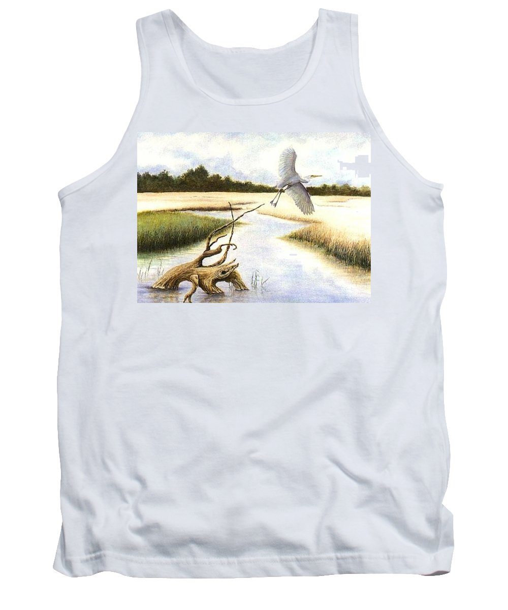 Egret Tank Top featuring the painting Low Country Marsh by Ben Kiger