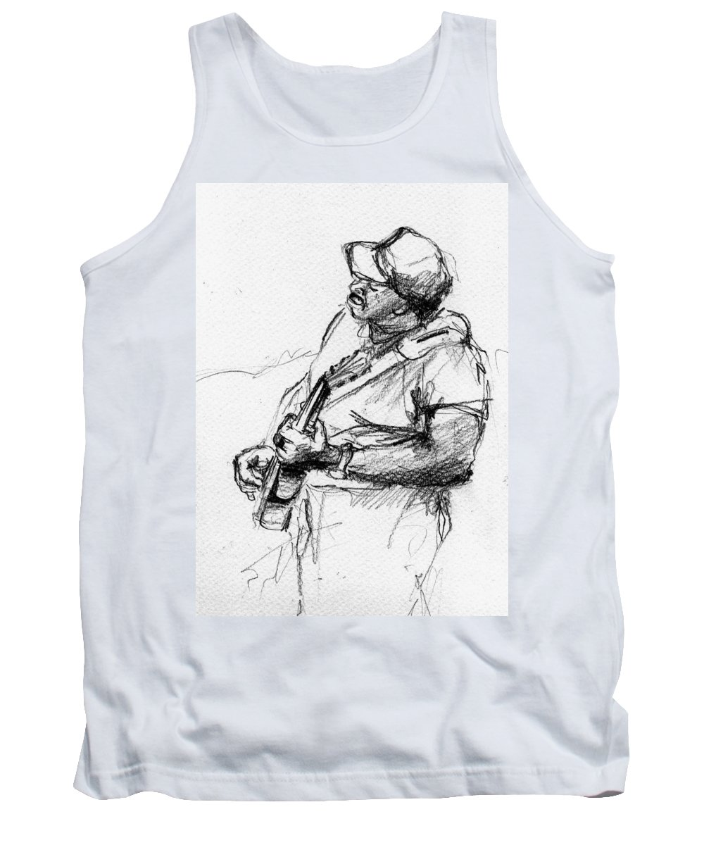 Music Tank Top featuring the drawing M_11 by Karina Plachetka