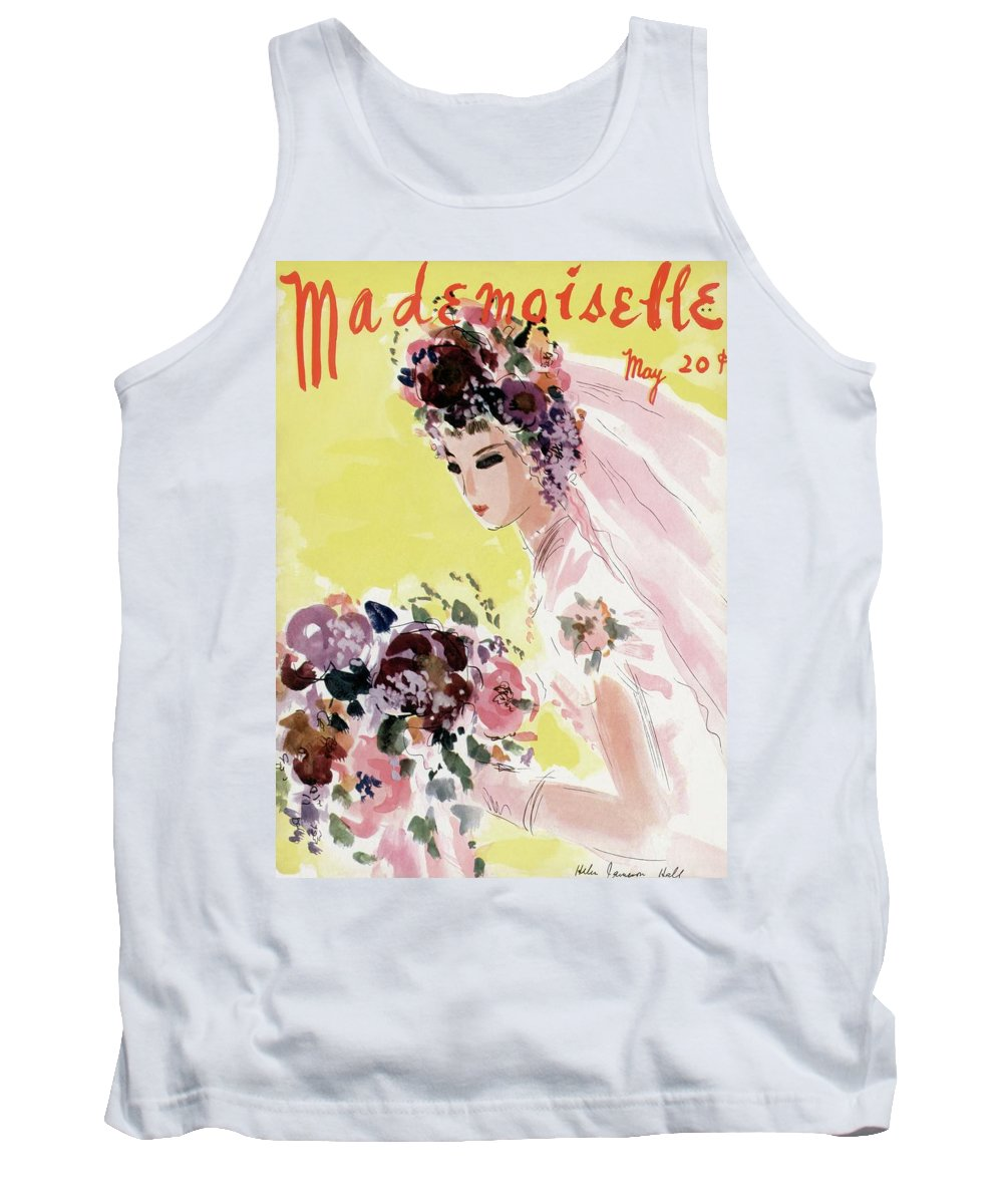 Illustration Tank Top featuring the photograph Mademoiselle Cover Featuring A Bride by Helen Jameson Hall