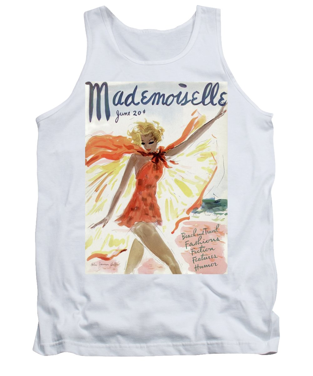 Illustration Tank Top featuring the photograph Mademoiselle Cover Featuring A Model At The Beach by Helen Jameson Hall