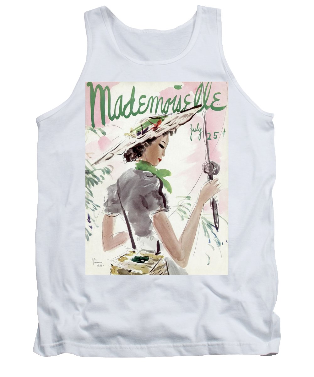 Illustration Tank Top featuring the photograph Mademoiselle Cover Featuring A Woman Holding by Helen Jameson Hall