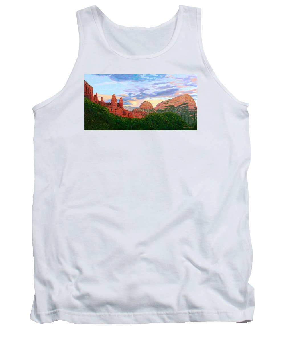 Madonna Tank Top featuring the painting Madonna And Nuns - Sedona by Steve Simon