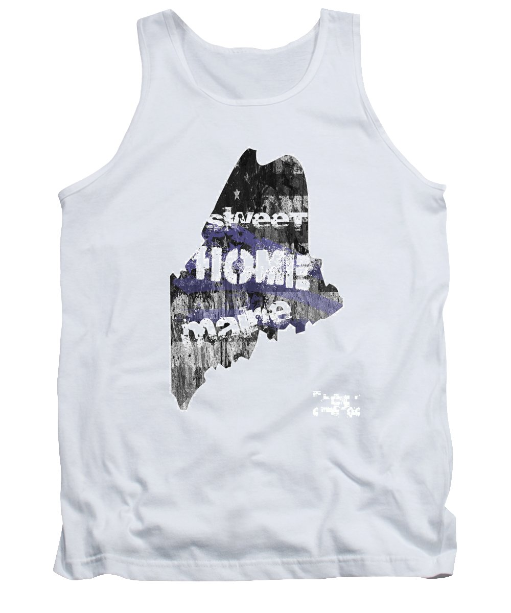 Maine Tank Top featuring the digital art Maine Map Cool by Voros Edit
