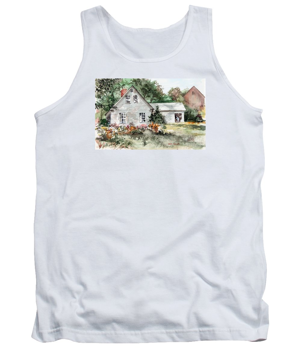 A Front Lawn Filled With Summer Flowers Decorate This Beautiful Home In Maine. Tank Top featuring the painting Maine Sunshine by Monte Toon