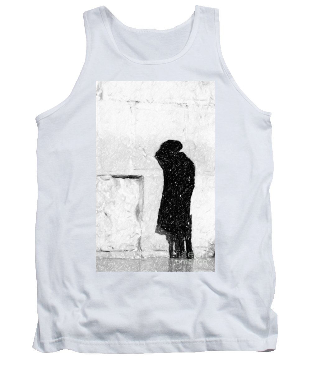 Discount Codes Tank Top featuring the photograph Man At Western Wall by Doc Braham